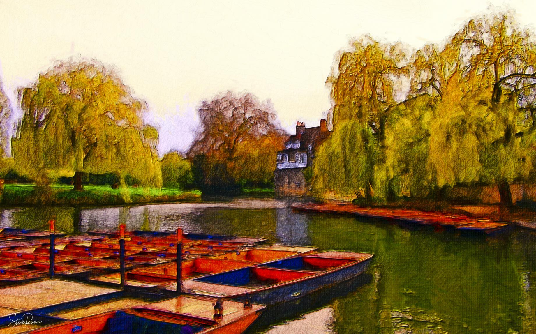 River Cam (oil over pencil)